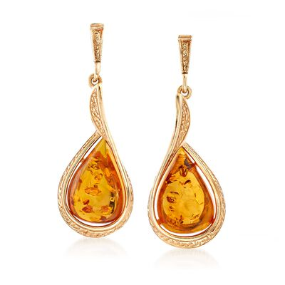 Amber Textured Teardrop Earrings in 18kt Gold Over Sterling, , default