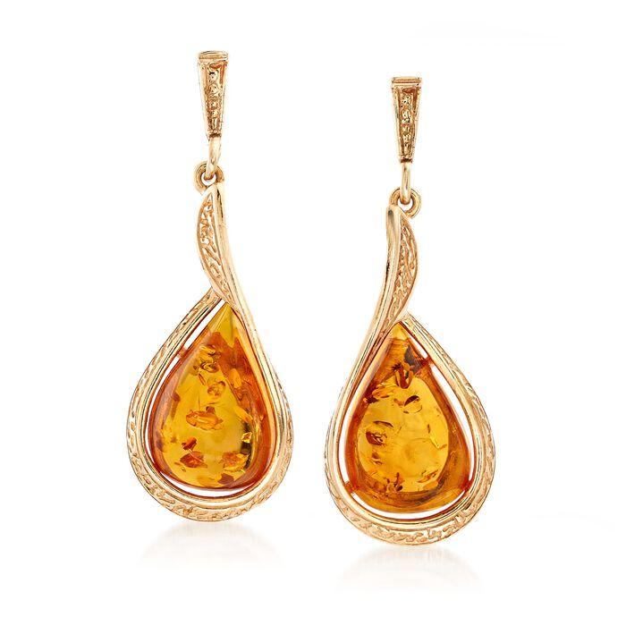 Amber Textured Teardrop Earrings in 18kt Gold Over Sterling, , default
