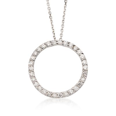 .75 ct. t.w. Diamond Open Circle Pendant Necklace in 14k White Gold, , default