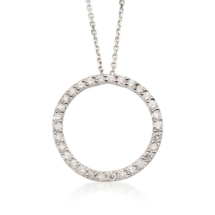 ".75 ct. t.w. Diamond Open Circle Pendant Necklace in 14k White Gold. 16"", , default"