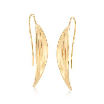 Italian 18kt Yellow Gold Curved Drop Earrings, , default