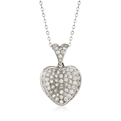 C. 1980 Vintage 1.50 ct. t.w. Diamond Heart Pendant Necklace in 14kt White Gold, , default
