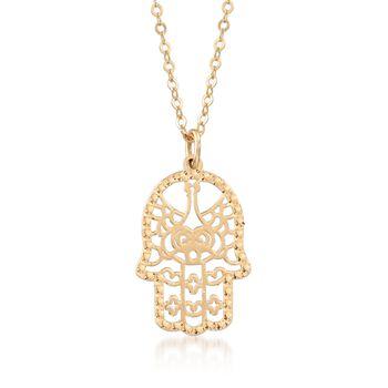 Italian 14kt Yellow Gold Openwork Hamsa Hand Pendant Necklace, , default