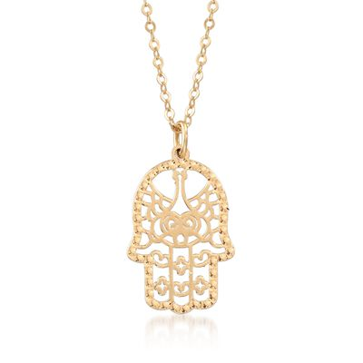 Italian 14kt Yellow Gold Openwork Hamsa Hand Pendant Necklace, , default
