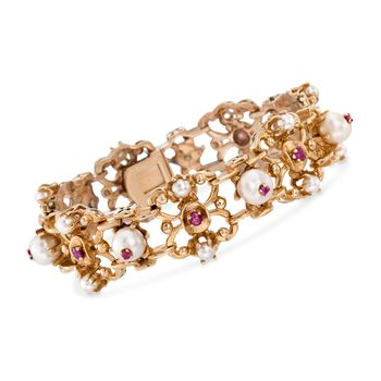 """C. 1980 Vintage 4-7.5mm Cultured Pearl and 1.40 ct. t.w. Ruby Bracelet in 14kt Yellow Gold. 7"""", , default"""
