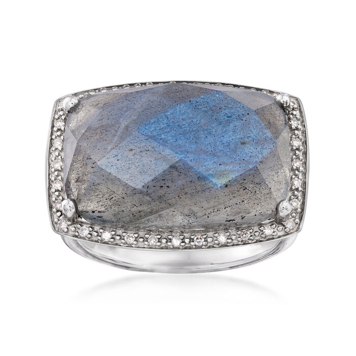 Labradorite and .10 ct. t.w. Diamond Ring in Sterling Silver