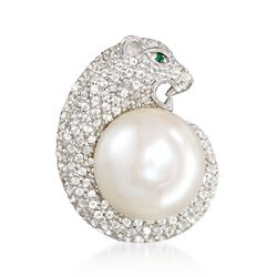 12-13mm Cultured Pearl and 1.30 ct. t.w. White Topaz Panther Pendant in Sterling Silver, , default