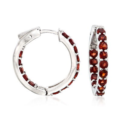 2.50 ct. t.w. Garnet Inside-Outside Hoop Earrings in Sterling Silver, , default