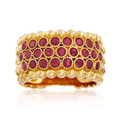 .90 ct. t.w. Ruby Beaded Multi-Row Ring in 18kt Gold Over Sterling, , default