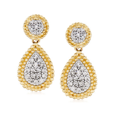 .33 ct. t.w. Diamond Cluster Drop Earrings in 14kt Yellow Gold