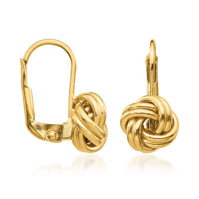 Italian 14kt Yellow Gold Love Knot Drop Earrings, , default