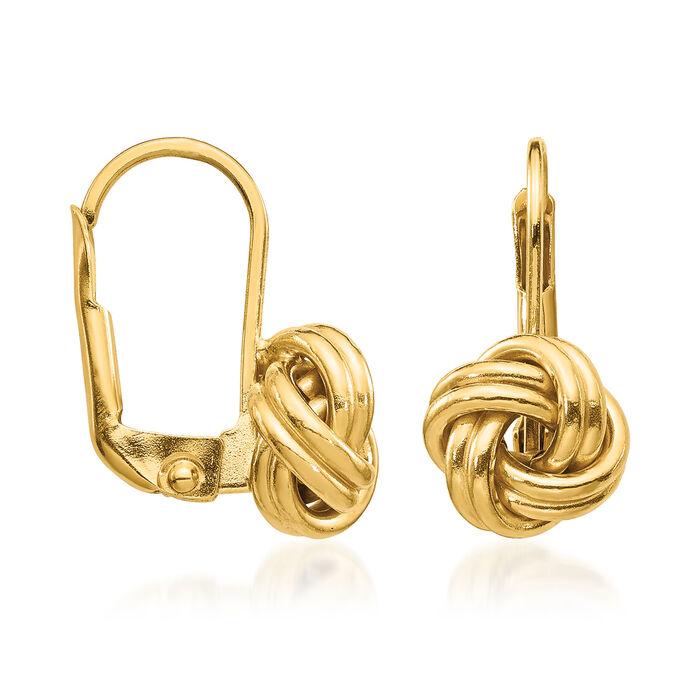 Italian 14kt Yellow Gold Love Knot Drop Earrings