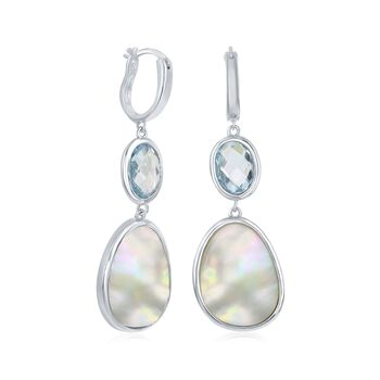 "Mother-Of-Pearl and 4.50 ct. t.w. Blue Topaz Hoop Drop Earrings in Sterling Silver. 1 3/4"", , default"
