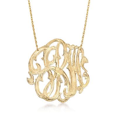 14kt Yellow Gold Open Script Monogram Necklace