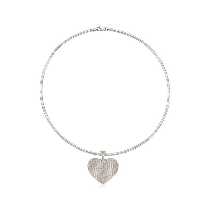 3.00 ct. t.w. Pave Diamond Heart Pendant Necklace in Sterling Silver, , default