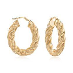 """Italian 18kt Yellow Gold Twist Hoop Earrings. 1 1/8"""", , default"""