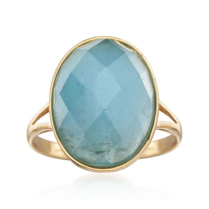 Faceted Oval Milky Aquamarine Ring in 14kt Yellow Gold