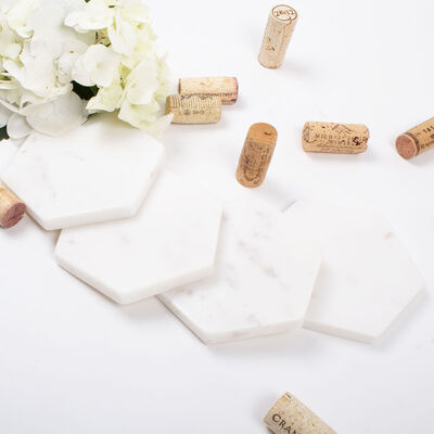 Set of 4 White Marble Hexagon Coasters, , default