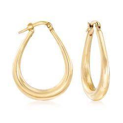 Italian 18kt Yellow Gold Hoop Earrings, , default
