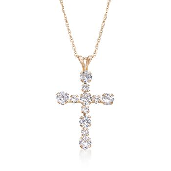 .75 ct. t.w. CZ Cross Pendant Necklace in 14kt Yellow Gold, , default