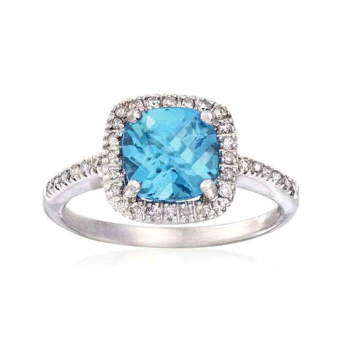 C. 2000 Vintage 1.75 Carat Blue Topaz and .25 ct. t.w. Diamond Ring in 14kt White Gold. Size 5.25, , default