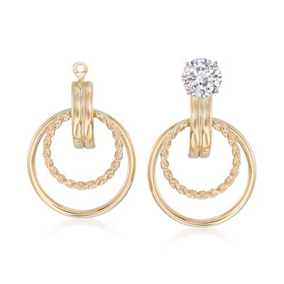 14kt Yellow Gold Double Circle Earring Jackets