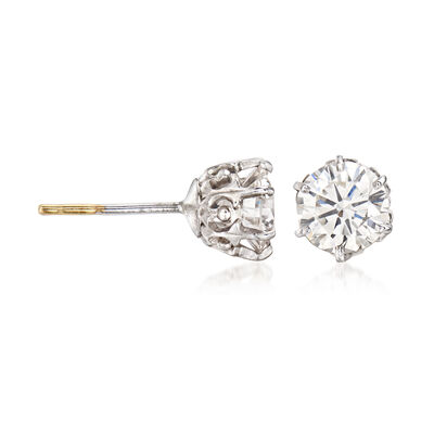 C. 1950 Vintage 1.50 ct. t.w. Diamond Stud Earrings in 14kt White Gold, , default