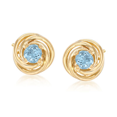 1.00 ct. t.w. Blue Topaz Love Knot Earrings in 18kt Gold Over Sterling Silver, , default
