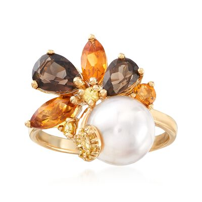 9-9.5mm Cultured Pearl and 2.00 ct. t.w. Multi-Stone Cluster Ring in 18kt Gold Over Sterling, , default