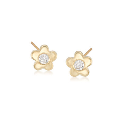 Child's CZ-Accented Flower Stud Earrings in 14kt Yellow Gold