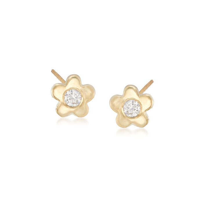 Child's CZ-Accented Flower Stud Earrings in 14kt Yellow Gold, , default