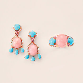 Pink Opal, Turquoise and .31 ct. t.w. Mixed Gemstone Drop Earrings in 14kt Rose Gold., , default