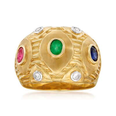 C. 1980 Vintage .70 ct. t.w. Multi-Gem and .10 ct. t.w. Diamond Ring in 18kt Yellow Gold, , default