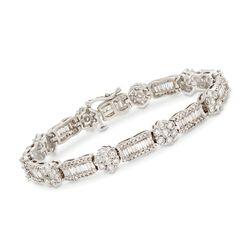 """C. 1980 Vintage 8.70 ct. t.w. Diamond Floral Cluster Bracelet in 14kt White Gold. 6.5"""", , default"""