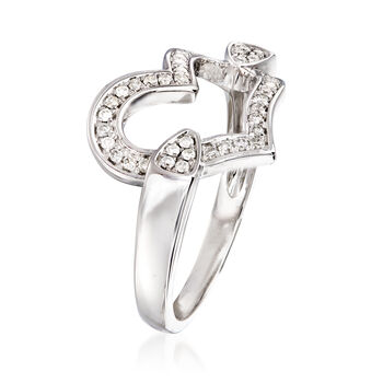 C. 1990 Vintage .30 ct. t.w. Diamond Heart Ring in 14kt White Gold. Size 7