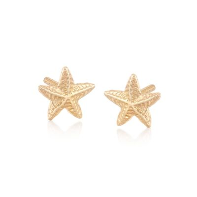 Child's 14kt Yellow Gold Starfish Stud Earrings, , default