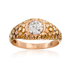 C. 1950 Vintage .87 Carat Diamond Floral Ring in 10kt Yellow Gold. Size 9, , default