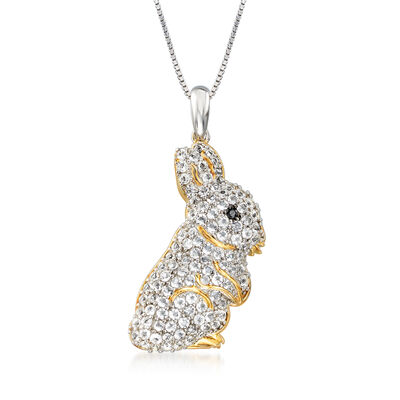 1.60 ct. t.w. White Topaz Bunny Pendant Necklace in Two-Tone Sterling Silver, , default