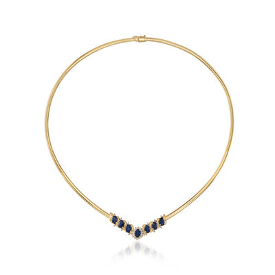 C. 1980 Vintage 4.20 Sapphire and .25 ct. t.w. Diamond Necklace in 14kt Yellow Gold