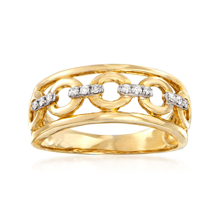 Open-Space Ring with Diamond Accents in 14kt Yellow Gold. Size 7, , default