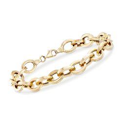 14kt Yellow Gold Oval-Link Bracelet, , default