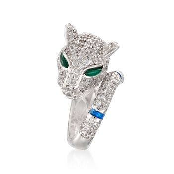 4.00 ct. t.w. CZ and Simulated Multi-Stone Panther Ring in Sterling Silver