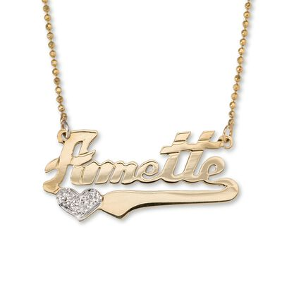 14k Yellow Gold Name Necklace with Diamond Accent Heart