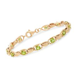 3.10 ct. t.w. Peridot Oval-Link Bracelet in 14kt Yellow Gold, , default