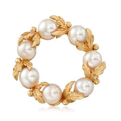 C. 1980 Vintage 7mm Cultured Pearl Wreath Pin in 14kt Yellow Gold, , default