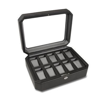 "Wolf Designs ""Windsor"" Black Faux Leather Ten-Part Watch Box, , default"
