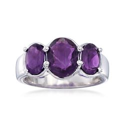 3.00 ct. t.w. Oval Amethyst Three-Stone Ring in Sterling Silver, , default