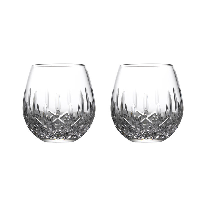 """Waterford Crystal """"Nouveau"""" Set of 2 Stemless Glasses for Deep Red Wine"""
