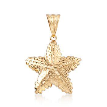 14kt Yellow Gold Starfish Pendant , , default