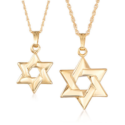 Mom & Me Star of David Pendant Necklace Set of Two in 14kt Yellow Gold, , default